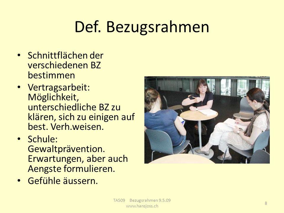 Def. Bezugsrahmen Schnittflächen der verschiedenen BZ bestimmen Vertragsarbeit: Möglichkeit, unterschiedliche BZ zu klären, sich zu einigen auf best.
