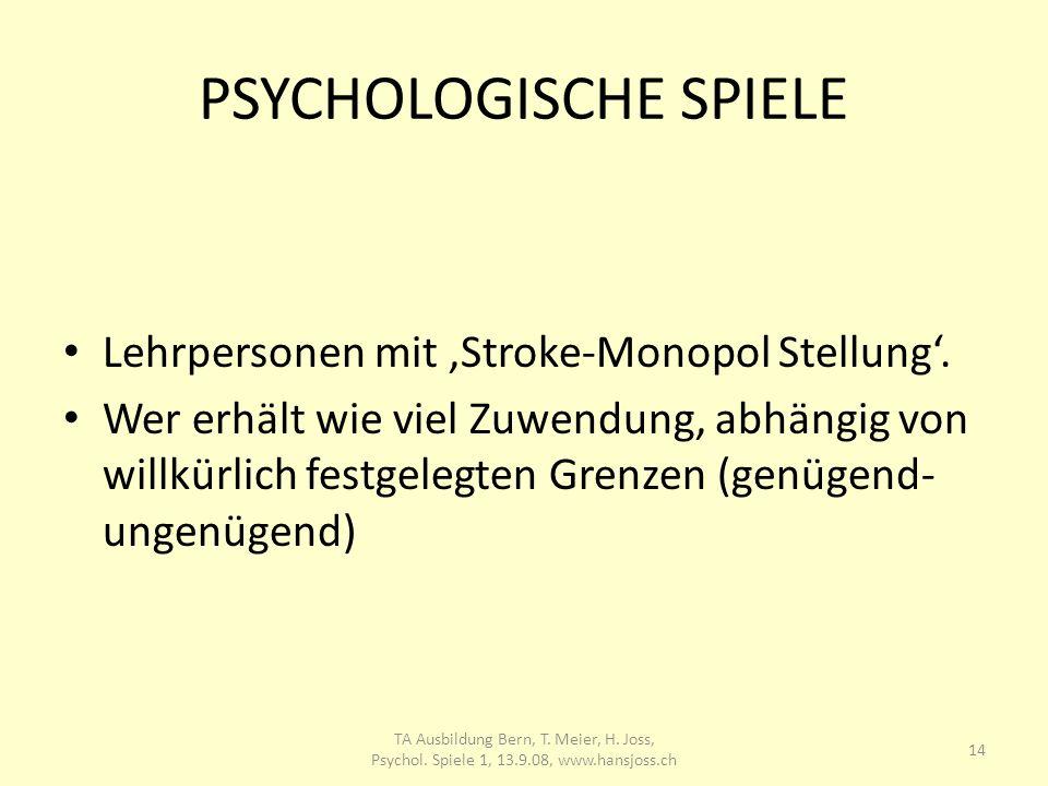 PSYCHOLOGISCHE SPIELE Lehrpersonen mit Stroke-Monopol Stellung. Wer erhält wie viel Zuwendung, abhängig von willkürlich festgelegten Grenzen (genügend