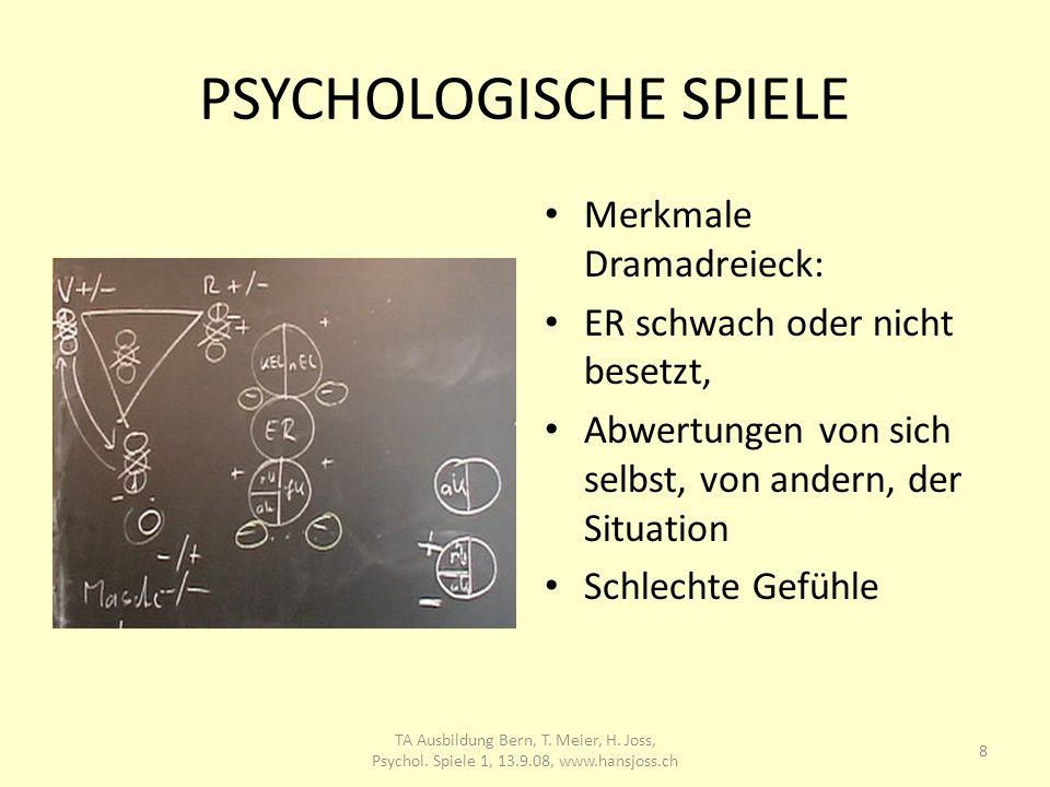 PSYCHOLOGISCHE SPIELE Merkmale Dramadreieck: ER schwach oder nicht besetzt, Abwertungen von sich selbst, von andern, der Situation Schlechte Gefühle 8