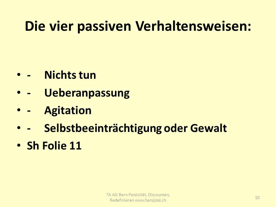 Die vier passiven Verhaltensweisen: -Nichts tun -Ueberanpassung -Agitation -Selbstbeeinträchtigung oder Gewalt Sh Folie 11 10 TA AG Bern Passivität, D