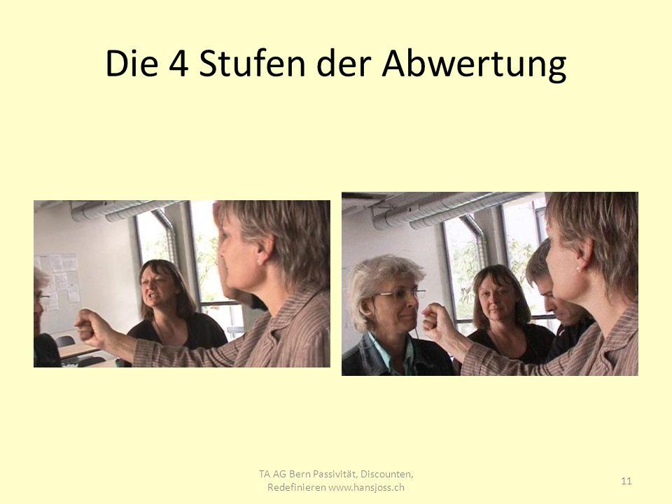 Die 4 Stufen der Abwertung 11 TA AG Bern Passivität, Discounten, Redefinieren www.hansjoss.ch