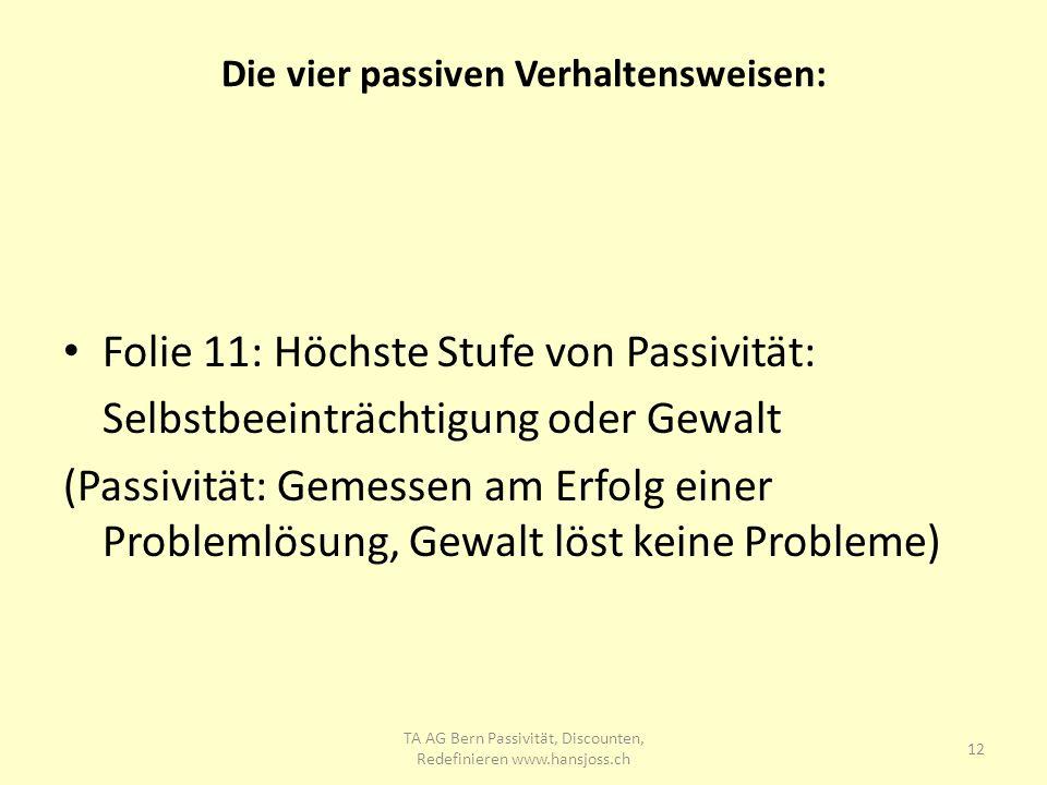 Die vier passiven Verhaltensweisen: Folie 11: Höchste Stufe von Passivität: Selbstbeeinträchtigung oder Gewalt (Passivität: Gemessen am Erfolg einer P