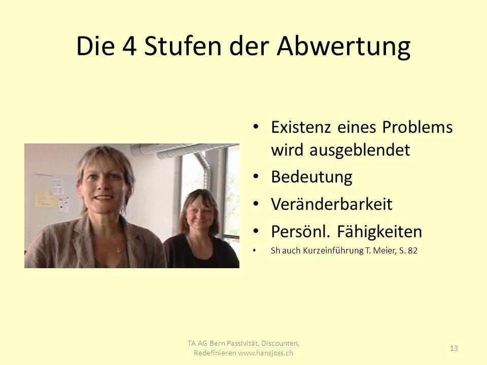 Die 4 Stufen der Abwertung Existenz eines Problems wird ausgeblendet Bedeutung Veränderbarkeit Persönl. Fähigkeiten Sh auch Kurzeinführung T. Meier, S