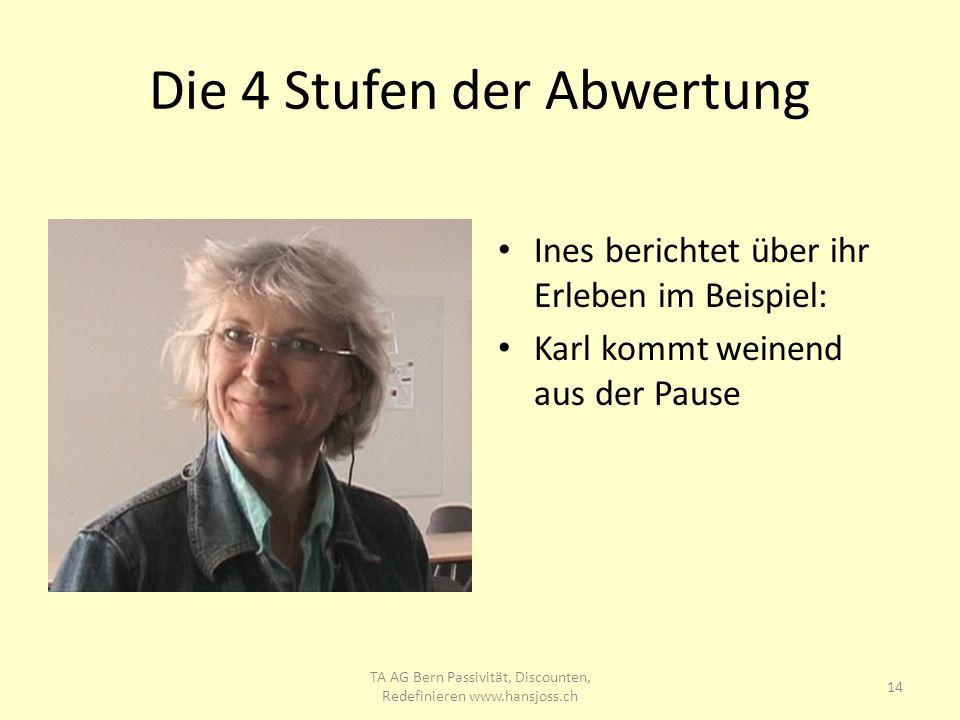 Die 4 Stufen der Abwertung Ines berichtet über ihr Erleben im Beispiel: Karl kommt weinend aus der Pause 14 TA AG Bern Passivität, Discounten, Redefin