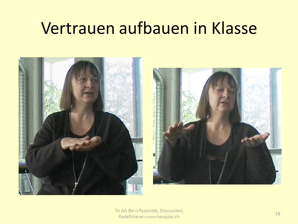 Vertrauen aufbauen in Klasse 18 TA AG Bern Passivität, Discounten, Redefinieren www.hansjoss.ch