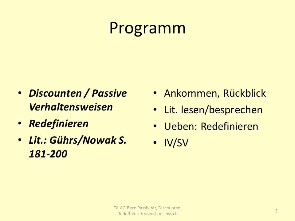 Programm Discounten / Passive Verhaltensweisen Redefinieren Lit.: Gührs/Nowak S. 181-200 Ankommen, Rückblick Lit. lesen/besprechen Ueben: Redefinieren