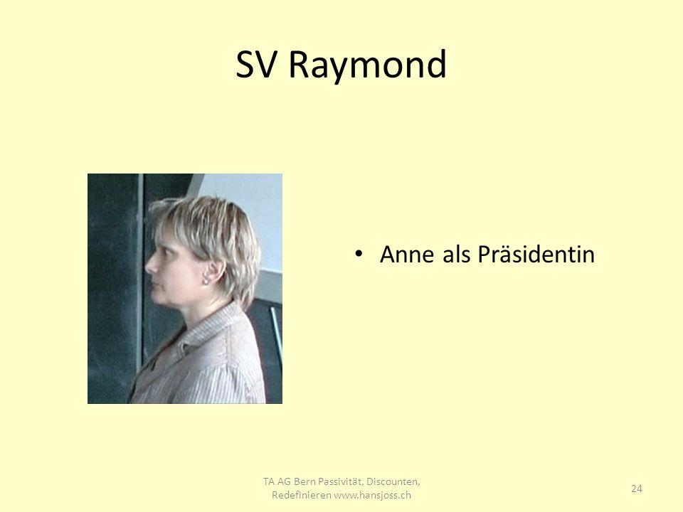 SV Raymond Anne als Präsidentin 24 TA AG Bern Passivität, Discounten, Redefinieren www.hansjoss.ch