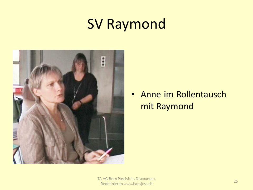 SV Raymond Anne im Rollentausch mit Raymond 25 TA AG Bern Passivität, Discounten, Redefinieren www.hansjoss.ch