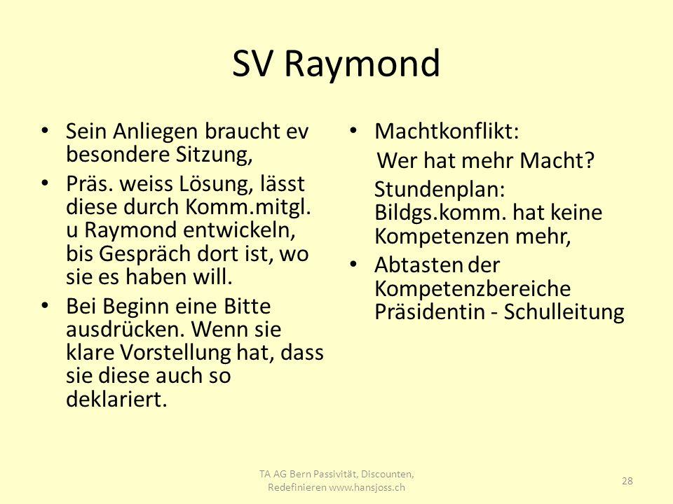 SV Raymond Sein Anliegen braucht ev besondere Sitzung, Präs. weiss Lösung, lässt diese durch Komm.mitgl. u Raymond entwickeln, bis Gespräch dort ist,