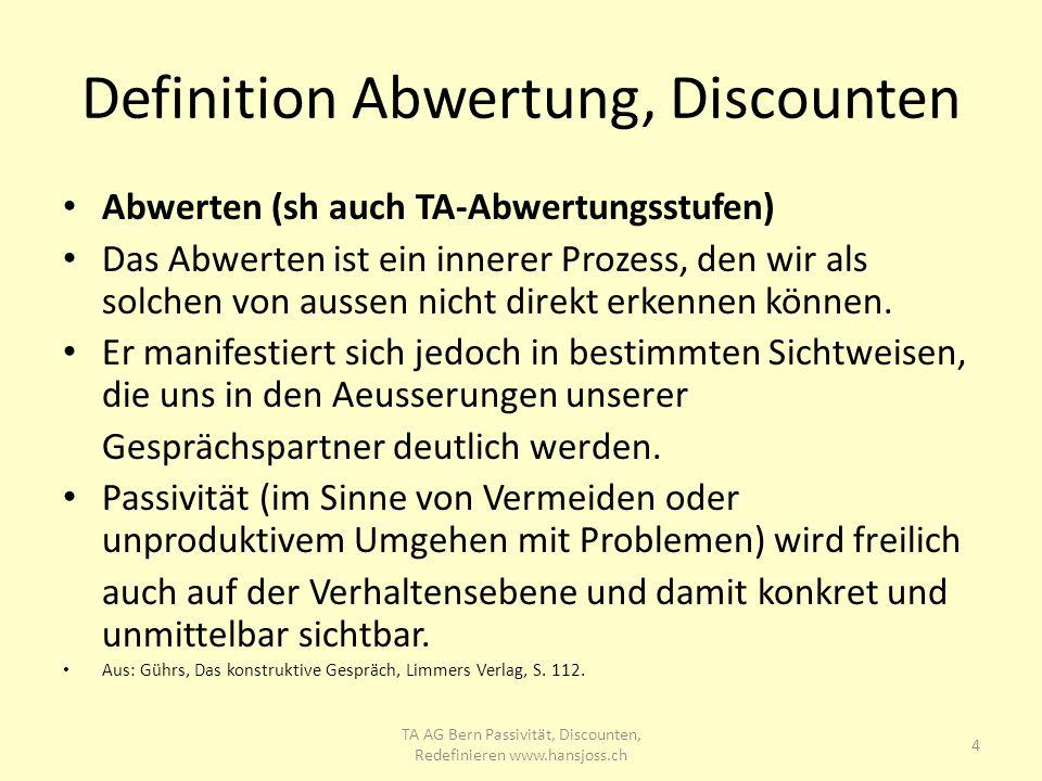 Definition Abwertung, Discounten Abwerten (sh auch TA-Abwertungsstufen) Das Abwerten ist ein innerer Prozess, den wir als solchen von aussen nicht dir