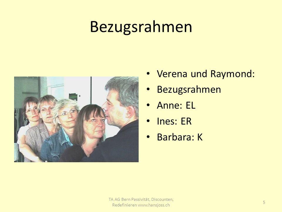 Bezugsrahmen Verena und Raymond: Bezugsrahmen Anne: EL Ines: ER Barbara: K 5 TA AG Bern Passivität, Discounten, Redefinieren www.hansjoss.ch
