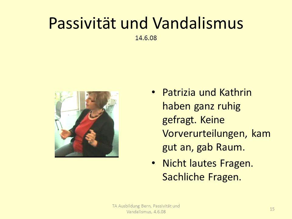 Passivität und Vandalismus 14.6.08 Patrizia und Kathrin haben ganz ruhig gefragt.
