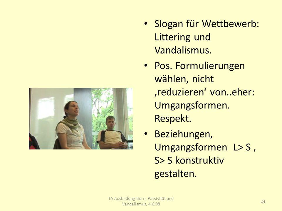 Slogan für Wettbewerb: Littering und Vandalismus. Pos.