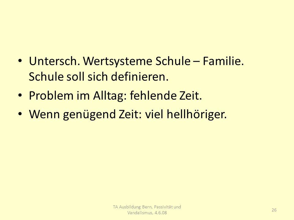 Untersch. Wertsysteme Schule – Familie. Schule soll sich definieren.