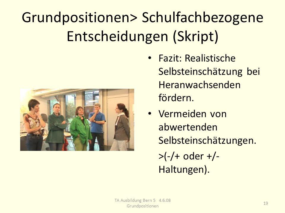 Grundpositionen> Schulfachbezogene Entscheidungen (Skript) Fazit: Realistische Selbsteinschätzung bei Heranwachsenden fördern.