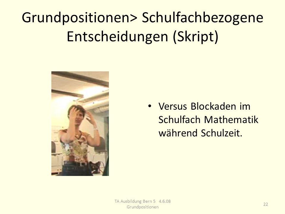 Grundpositionen> Schulfachbezogene Entscheidungen (Skript) Versus Blockaden im Schulfach Mathematik während Schulzeit.
