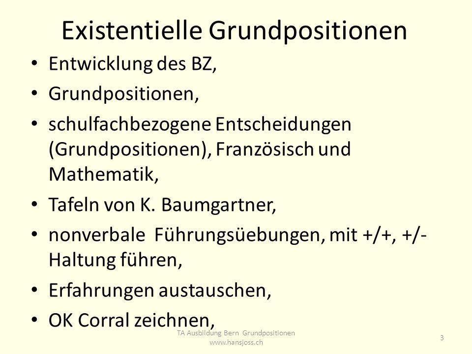 Existentielle Grundpositionen Entwicklung des BZ, Grundpositionen, schulfachbezogene Entscheidungen (Grundpositionen), Französisch und Mathematik, Tafeln von K.