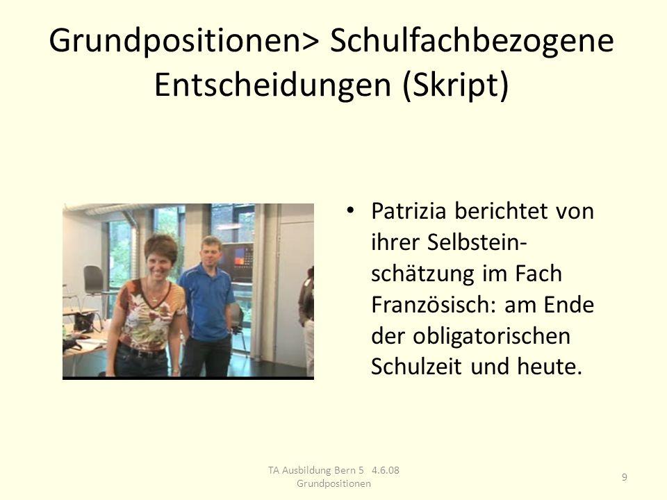Grundpositionen> Schulfachbezogene Entscheidungen (Skript) Patrizia berichtet von ihrer Selbstein- schätzung im Fach Französisch: am Ende der obligatorischen Schulzeit und heute.