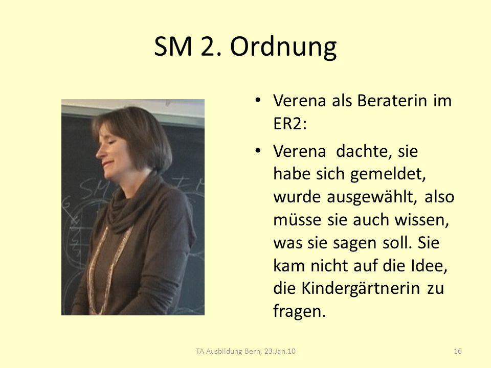 SM 2. Ordnung Verena als Beraterin im ER2: Verena dachte, sie habe sich gemeldet, wurde ausgewählt, also müsse sie auch wissen, was sie sagen soll. Si