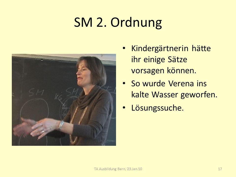 SM 2. Ordnung Kindergärtnerin hätte ihr einige Sätze vorsagen können. So wurde Verena ins kalte Wasser geworfen. Lösungssuche. 17TA Ausbildung Bern, 2