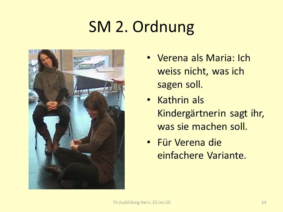 SM 2. Ordnung Verena als Maria: Ich weiss nicht, was ich sagen soll. Kathrin als Kindergärtnerin sagt ihr, was sie machen soll. Für Verena die einfach
