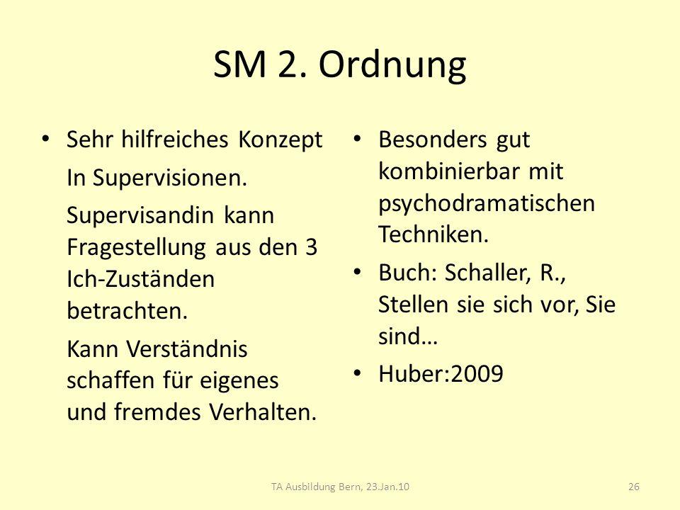 SM 2. Ordnung Sehr hilfreiches Konzept In Supervisionen. Supervisandin kann Fragestellung aus den 3 Ich-Zuständen betrachten. Kann Verständnis schaffe