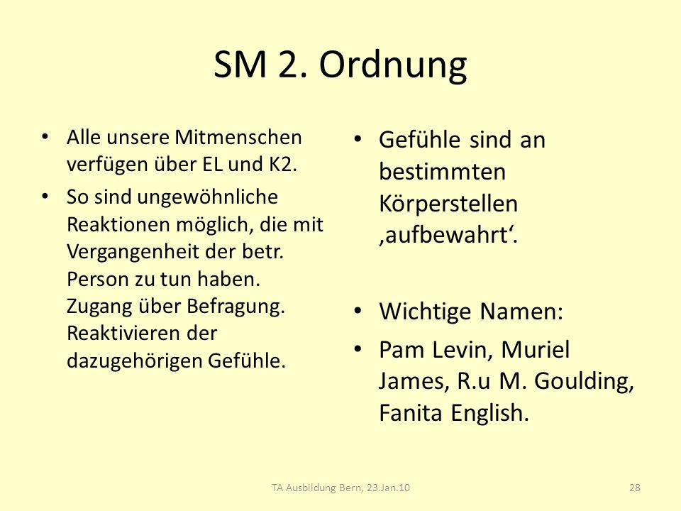 SM 2. Ordnung Alle unsere Mitmenschen verfügen über EL und K2. So sind ungewöhnliche Reaktionen möglich, die mit Vergangenheit der betr. Person zu tun