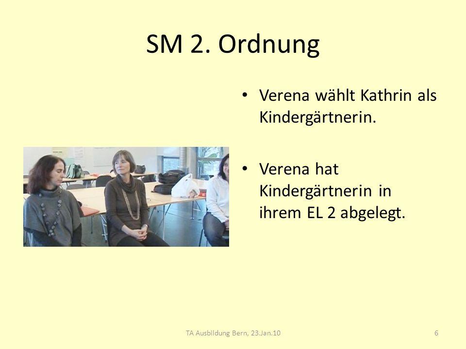 SM 2. Ordnung Verena wählt Kathrin als Kindergärtnerin. Verena hat Kindergärtnerin in ihrem EL 2 abgelegt. 6TA Ausbildung Bern, 23.Jan.10