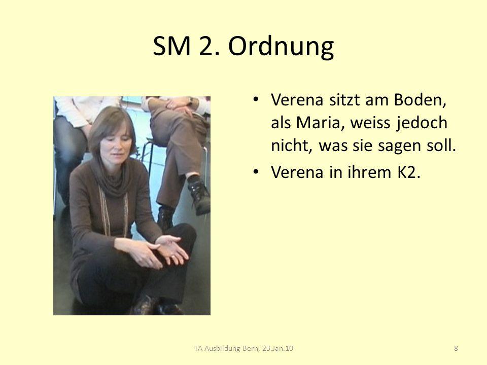 SM 2. Ordnung Verena sitzt am Boden, als Maria, weiss jedoch nicht, was sie sagen soll. Verena in ihrem K2. 8TA Ausbildung Bern, 23.Jan.10