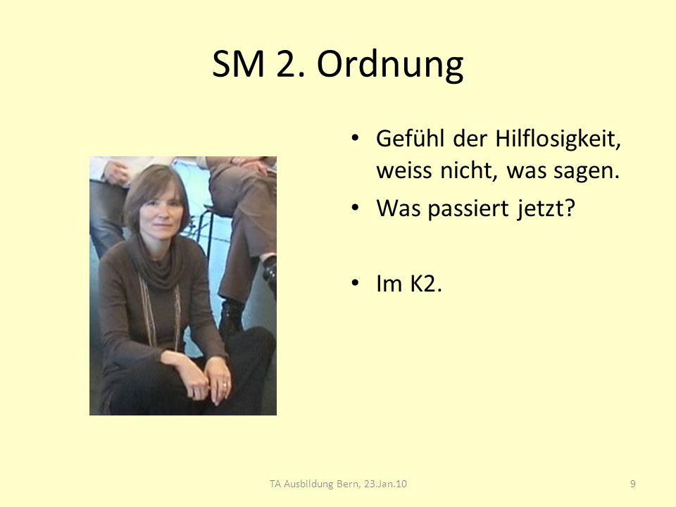SM 2. Ordnung Gefühl der Hilflosigkeit, weiss nicht, was sagen. Was passiert jetzt? Im K2. 9TA Ausbildung Bern, 23.Jan.10