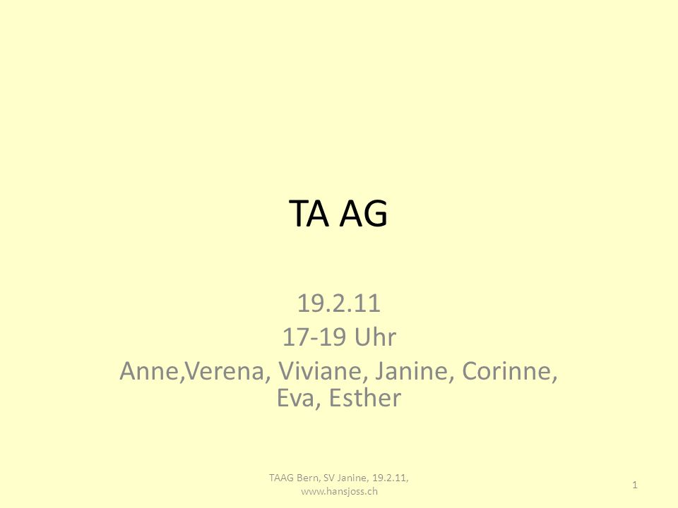 TA AG 19.2.11 17-19 Uhr Anne,Verena, Viviane, Janine, Corinne, Eva, Esther 1 TAAG Bern, SV Janine, 19.2.11, www.hansjoss.ch