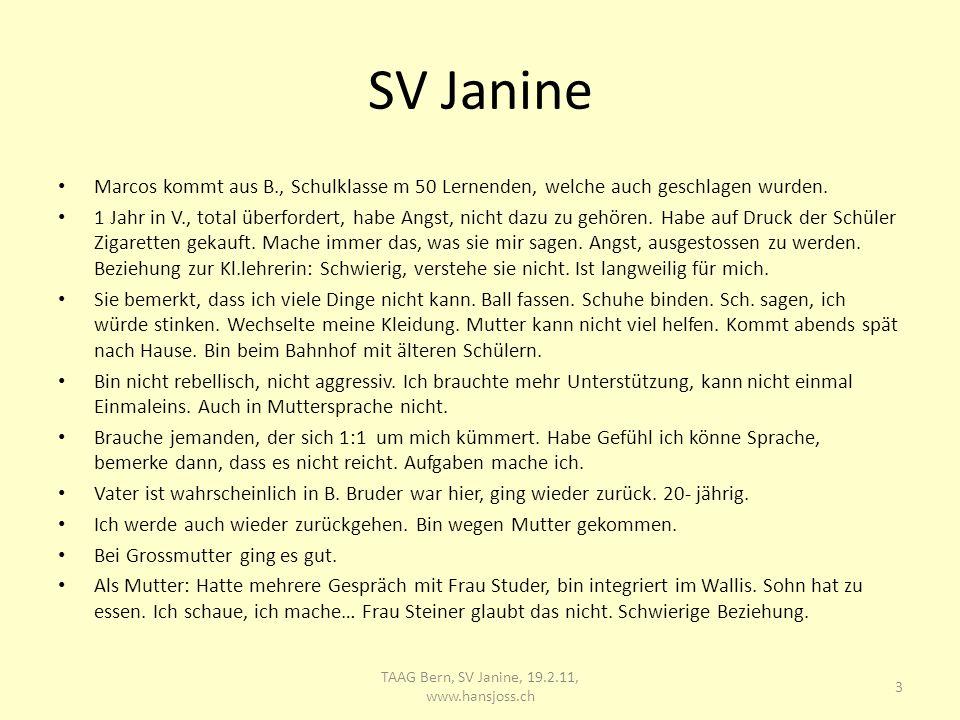 SV Janine Marcos kommt aus B., Schulklasse m 50 Lernenden, welche auch geschlagen wurden.
