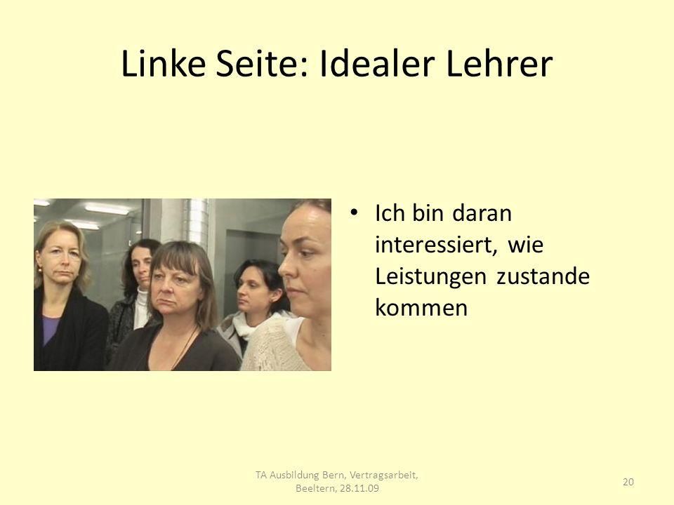 Linke Seite: Idealer Lehrer Ich bin daran interessiert, wie Leistungen zustande kommen 20 TA Ausbildung Bern, Vertragsarbeit, Beeltern, 28.11.09