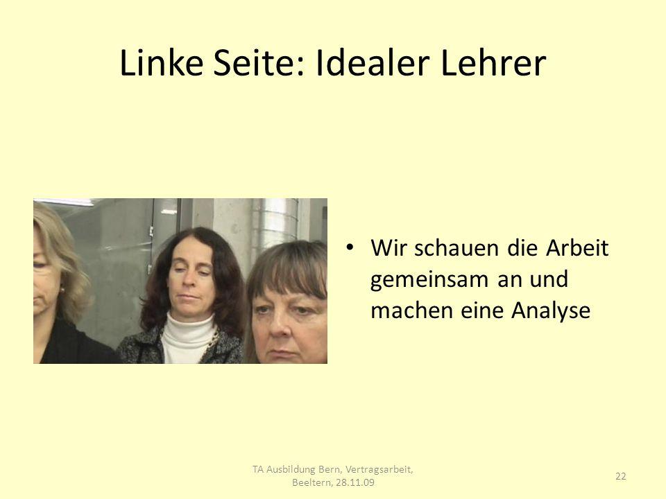 Linke Seite: Idealer Lehrer Wir schauen die Arbeit gemeinsam an und machen eine Analyse 22 TA Ausbildung Bern, Vertragsarbeit, Beeltern, 28.11.09