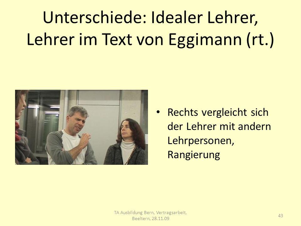 Unterschiede: Idealer Lehrer, Lehrer im Text von Eggimann (rt.) Rechts vergleicht sich der Lehrer mit andern Lehrpersonen, Rangierung 43 TA Ausbildung Bern, Vertragsarbeit, Beeltern, 28.11.09