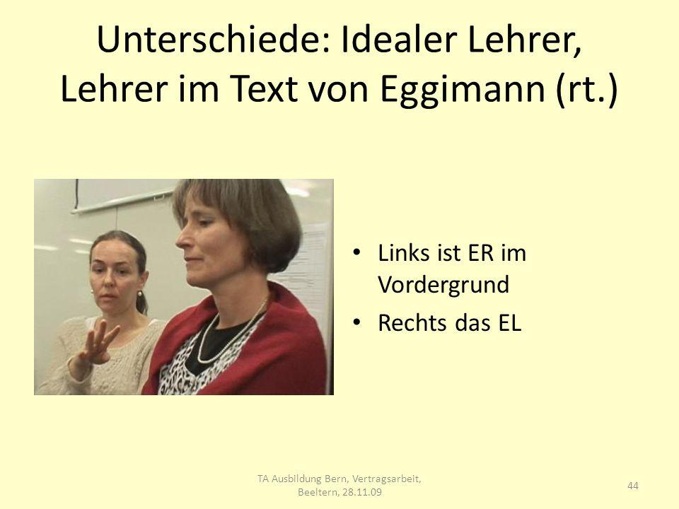Unterschiede: Idealer Lehrer, Lehrer im Text von Eggimann (rt.) Links ist ER im Vordergrund Rechts das EL 44 TA Ausbildung Bern, Vertragsarbeit, Beeltern, 28.11.09