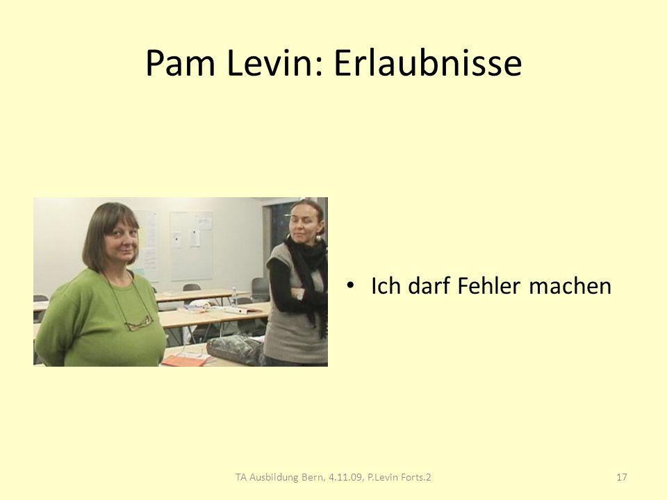Pam Levin: Erlaubnisse Ich darf Fehler machen 17TA Ausbildung Bern, 4.11.09, P.Levin Forts.2