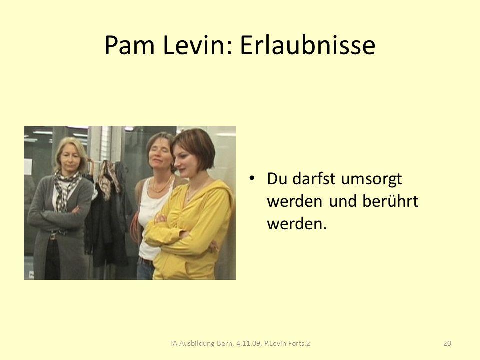 Pam Levin: Erlaubnisse Du darfst umsorgt werden und berührt werden. 20TA Ausbildung Bern, 4.11.09, P.Levin Forts.2