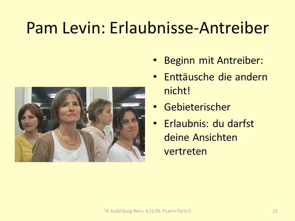 Pam Levin: Erlaubnisse-Antreiber Beginn mit Antreiber: Enttäusche die andern nicht! Gebieterischer Erlaubnis: du darfst deine Ansichten vertreten 22TA