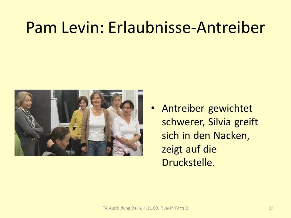Pam Levin: Erlaubnisse-Antreiber Antreiber gewichtet schwerer, Silvia greift sich in den Nacken, zeigt auf die Druckstelle. 24TA Ausbildung Bern, 4.11