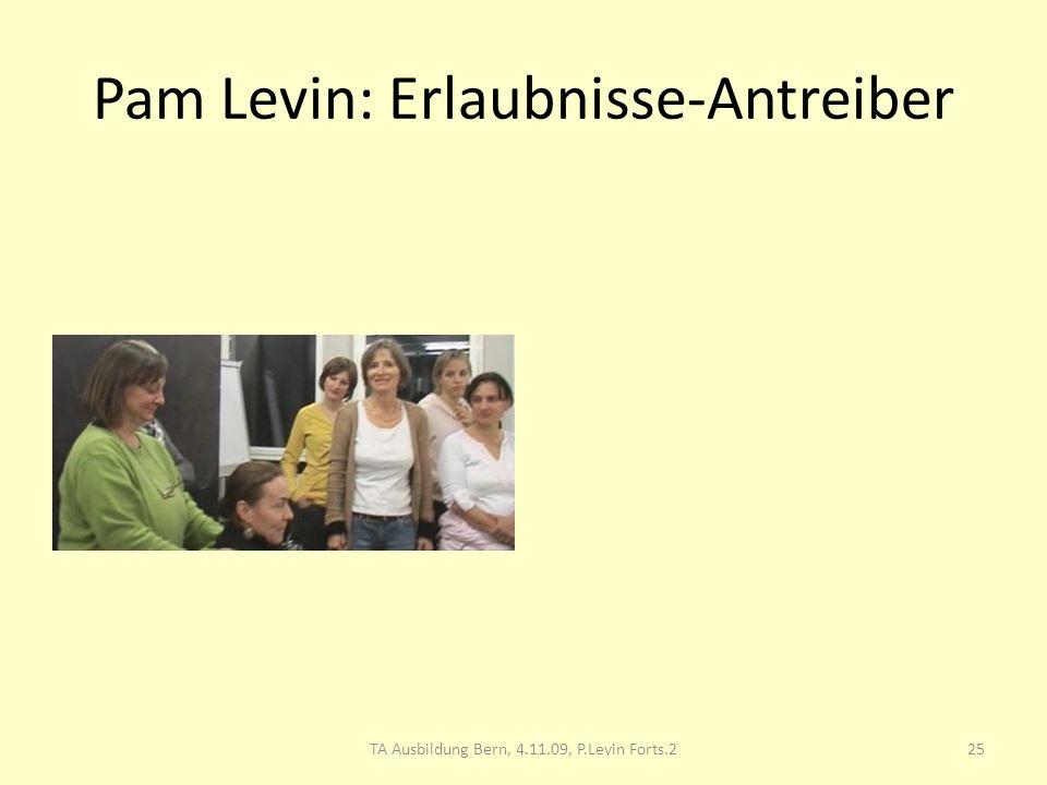 Pam Levin: Erlaubnisse-Antreiber 25TA Ausbildung Bern, 4.11.09, P.Levin Forts.2