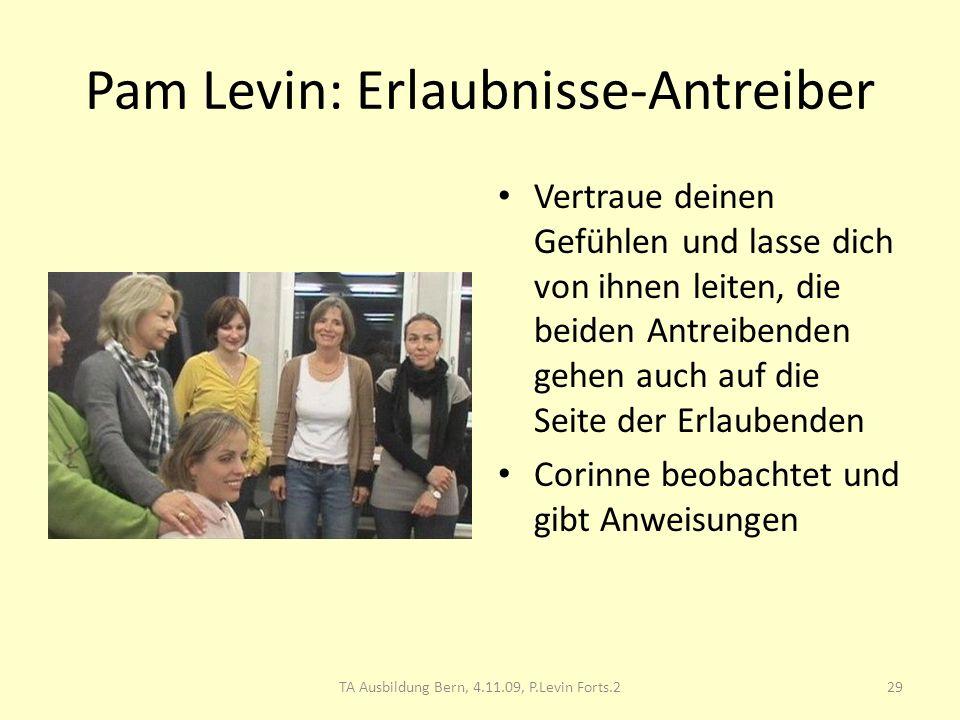 Pam Levin: Erlaubnisse-Antreiber Vertraue deinen Gefühlen und lasse dich von ihnen leiten, die beiden Antreibenden gehen auch auf die Seite der Erlaub