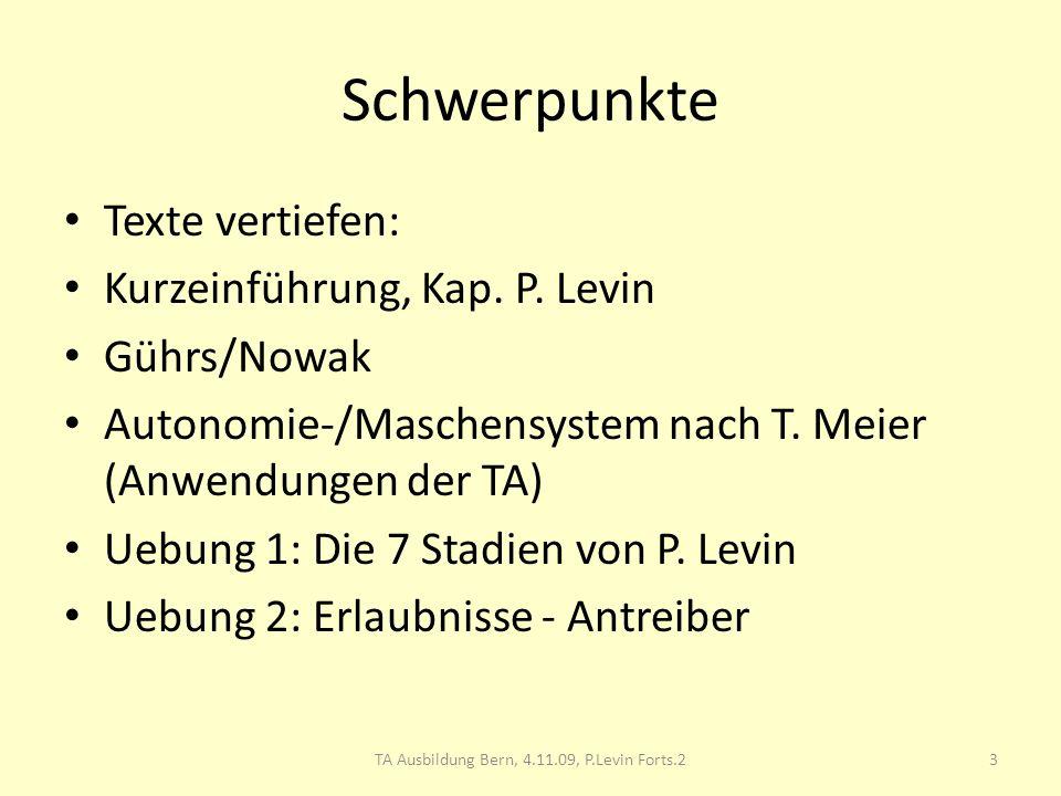 Schwerpunkte Texte vertiefen: Kurzeinführung, Kap. P. Levin Gührs/Nowak Autonomie-/Maschensystem nach T. Meier (Anwendungen der TA) Uebung 1: Die 7 St