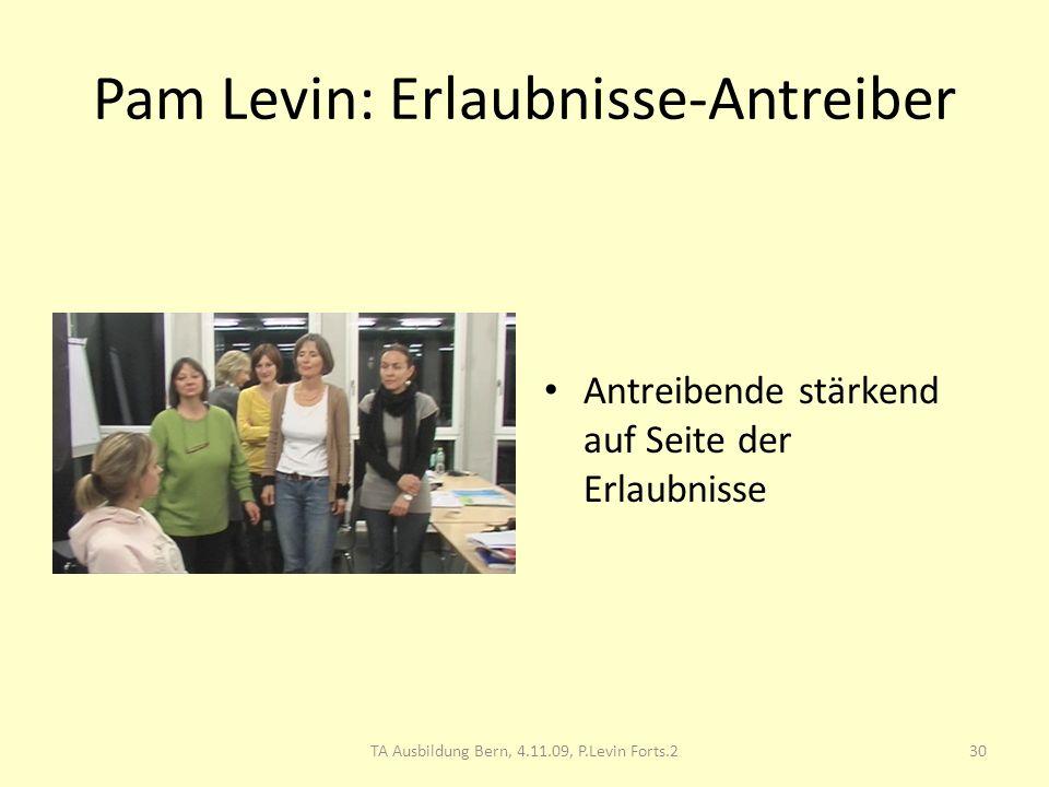 Pam Levin: Erlaubnisse-Antreiber Antreibende stärkend auf Seite der Erlaubnisse TA Ausbildung Bern, 4.11.09, P.Levin Forts.230