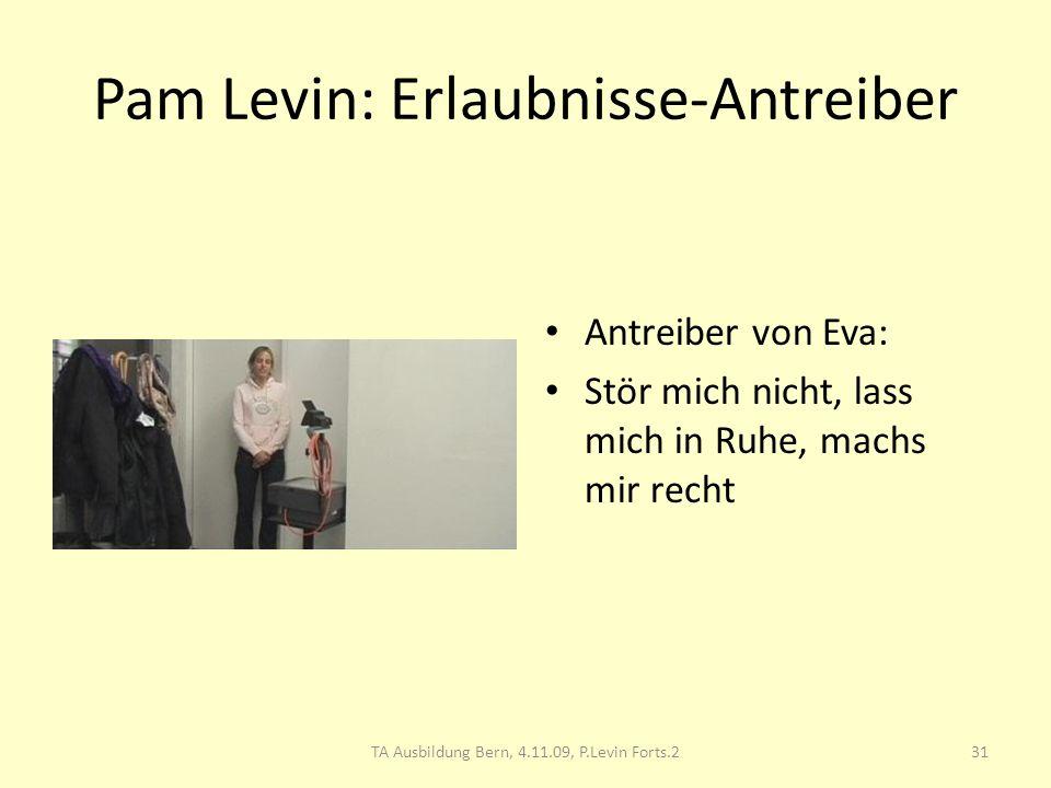 Pam Levin: Erlaubnisse-Antreiber Antreiber von Eva: Stör mich nicht, lass mich in Ruhe, machs mir recht 31TA Ausbildung Bern, 4.11.09, P.Levin Forts.2
