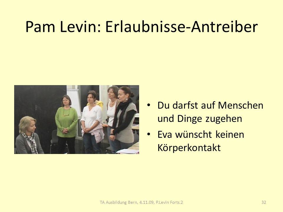 Pam Levin: Erlaubnisse-Antreiber Du darfst auf Menschen und Dinge zugehen Eva wünscht keinen Körperkontakt 32TA Ausbildung Bern, 4.11.09, P.Levin Fort