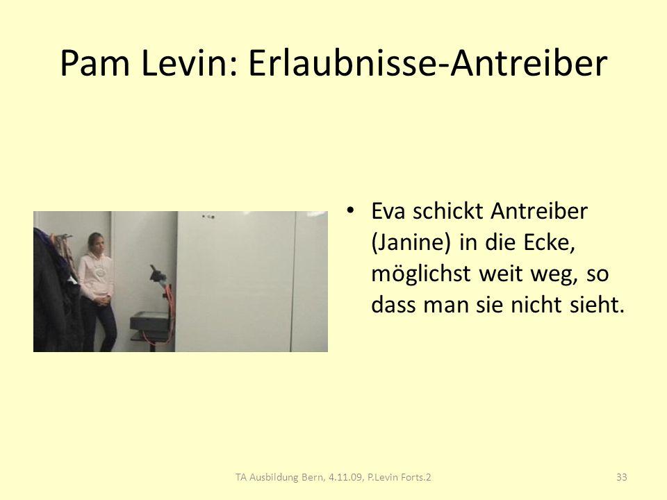 Pam Levin: Erlaubnisse-Antreiber Eva schickt Antreiber (Janine) in die Ecke, möglichst weit weg, so dass man sie nicht sieht. 33TA Ausbildung Bern, 4.