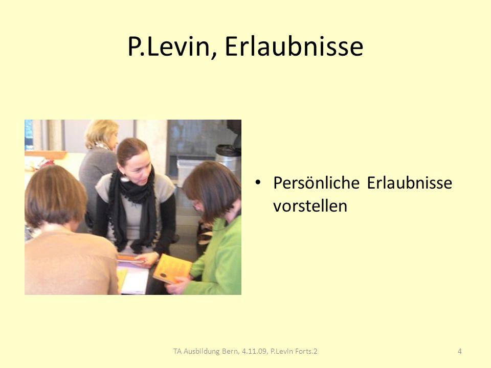 P.Levin, Erlaubnisse Persönliche Erlaubnisse vorstellen 4TA Ausbildung Bern, 4.11.09, P.Levin Forts.2