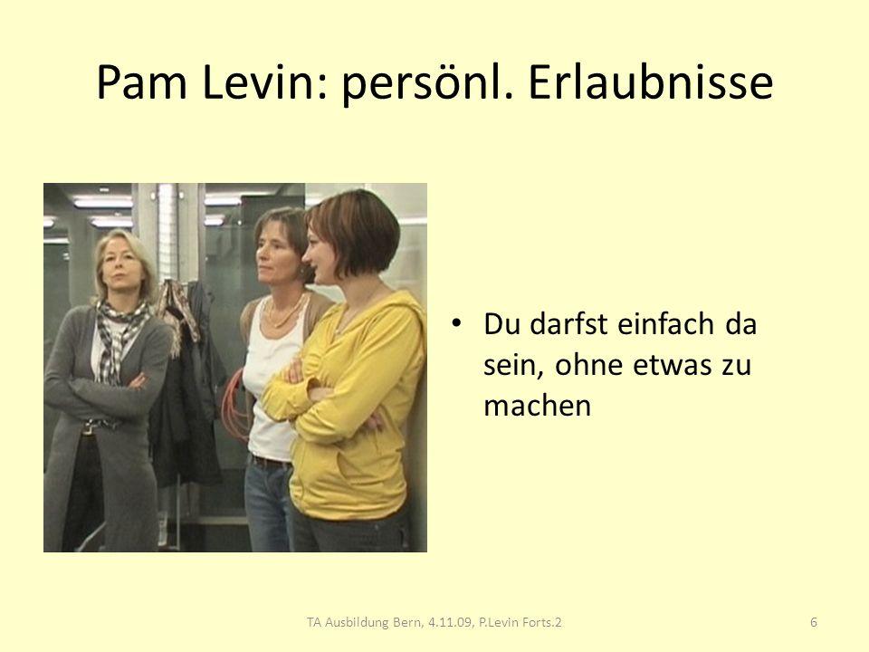 Pam Levin: persönl. Erlaubnisse Du darfst einfach da sein, ohne etwas zu machen 6TA Ausbildung Bern, 4.11.09, P.Levin Forts.2