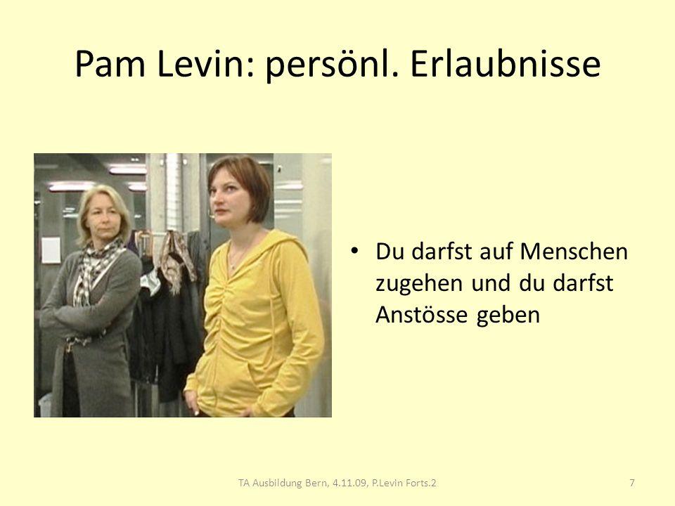 Pam Levin: persönl. Erlaubnisse Du darfst auf Menschen zugehen und du darfst Anstösse geben 7TA Ausbildung Bern, 4.11.09, P.Levin Forts.2